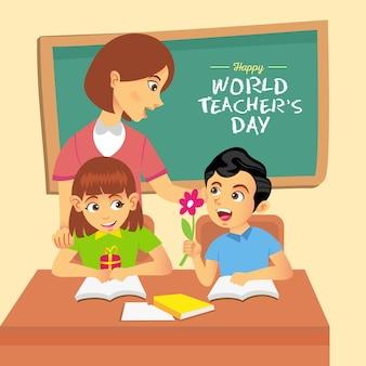 幸せな世界の教師の日漫画イラスト。グリーティングカード、ポスター、バナーに適しています