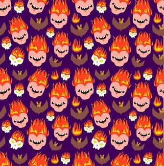 ハロウィンのシームレスな悪魔の少年とバットのパターン