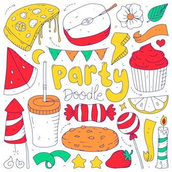 孤立した白い背景のパーティー要素のコレクションセットを落書き。落書きパーティー