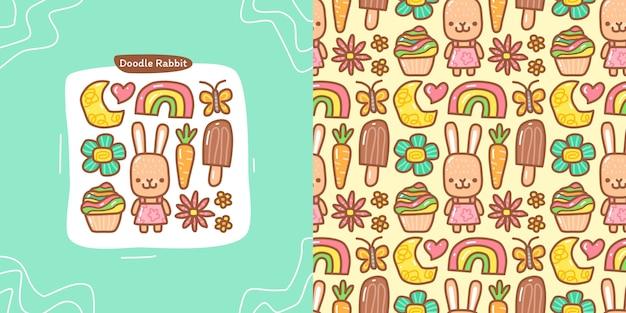 ウサギの要素とシームレスなパターンのウサギの落書きコレクションセット