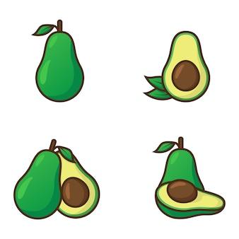 Авокадо иллюстрация с контуром