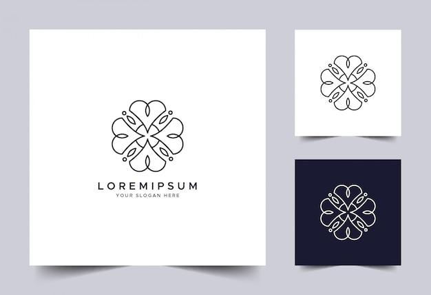 シンプルな花モノグラムのロゴのテンプレート