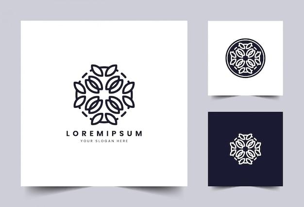 美しさとシンプルなフローラルラインアートのロゴのテンプレート