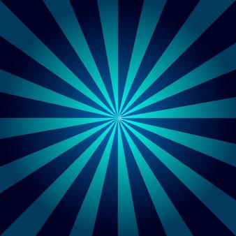 青い光線。サンバースト、フレア、ビームを持つダークブルーとライトブルーの抽象的なテクスチャ。レトロなアートデザイン。