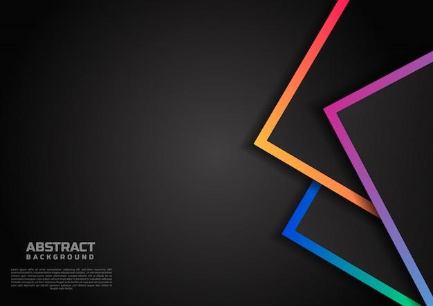 鮮やかな色の境界線の黒い背景とテンプレートの幾何学的な重複