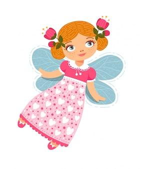 かわいい空飛ぶ春の妖精。赤毛の少女の手で描かれたフラット落書きスタイル