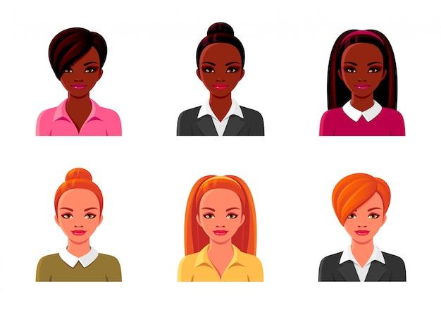 アフリカ系アメリカ人、さまざまな髪型の赤毛のオフィスの女性。アバターの顔が設定されます。ベクトル漫画の隔離されたイラスト。