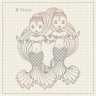 Знак зодиака рыбы гороскоп и тетрадь
