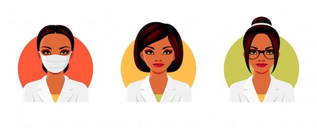 様々なヘアスタイル、メガネ、フェイスマスクと白い医療服のインドの女性医師。女性アバターセット。図。