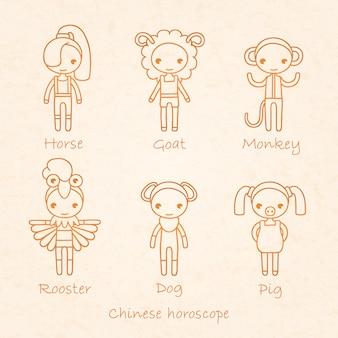 中国の星座は馬、ヤギ、猿、,、犬、豚に署名します