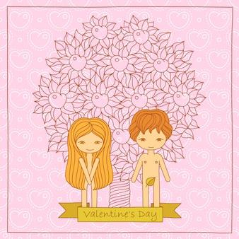 かわいいカップルとバレンタインの漫画カード。