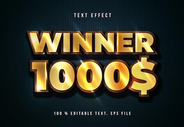 Золотой текстовый эффект победителя