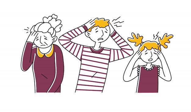 Грустные отчаявшиеся люди страдают от мигрени