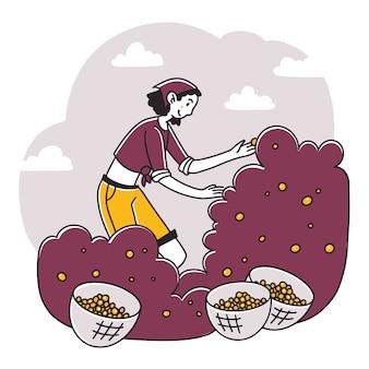 庭でサクランボを集める女性