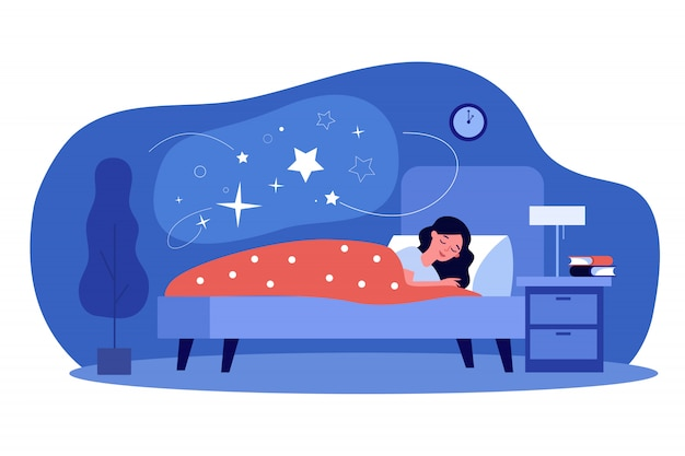 彼女の寝室で寝ている女性