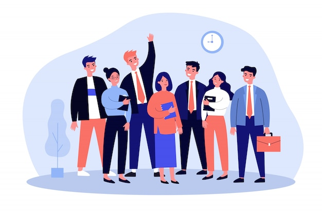 幸せなビジネス部門の同僚のチームの肖像画