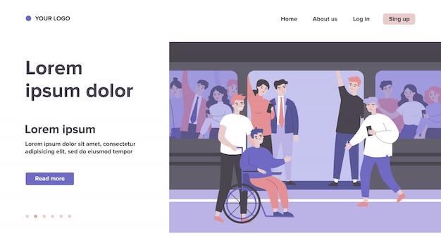 障害を持つ男と彼のヘルパーは地下鉄電車で旅行