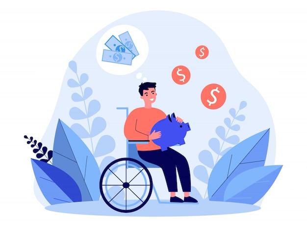 Счастливый человек-инвалид, экономящий деньги