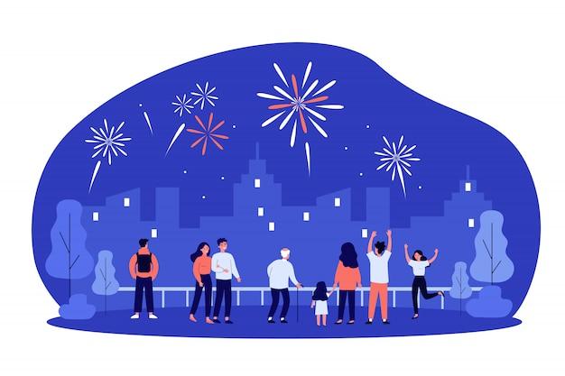 都市のお祝いイベントを祝う都市の人々の群衆