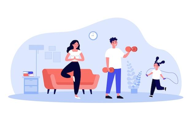 自宅で運動する家族