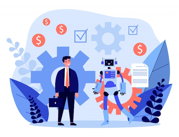 Бизнесмен обсуждает контракт с роботом