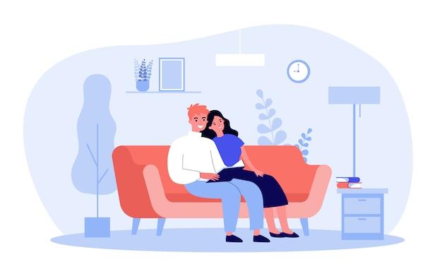 本を読んで幸せなカップル