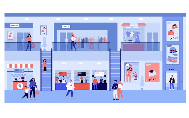 モールで買い物をする人