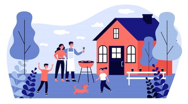 Счастливая семья делает барбекю на иллюстрации сада