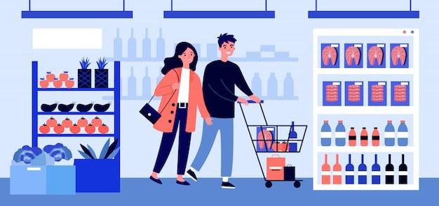スーパーマーケットの図で食品を購入する人