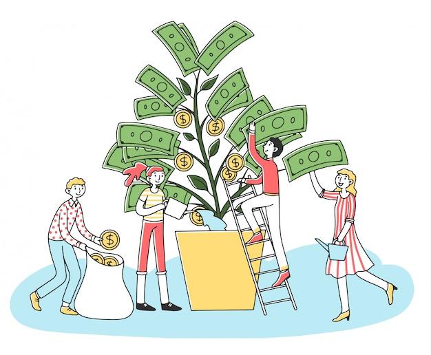 Люди растут деньги дерево иллюстрации