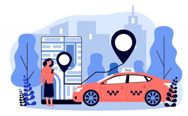 モバイルアプリのイラストを介してタクシーを取る若い女性
