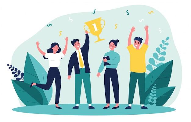 Счастливый бизнес команда выиграл приз