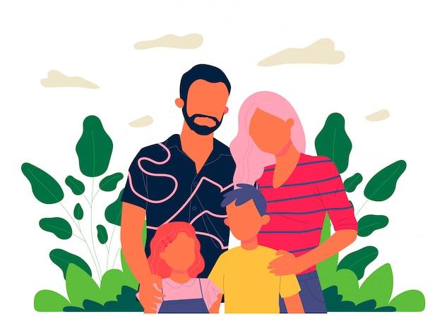 子供たちと幸せな家族カップル