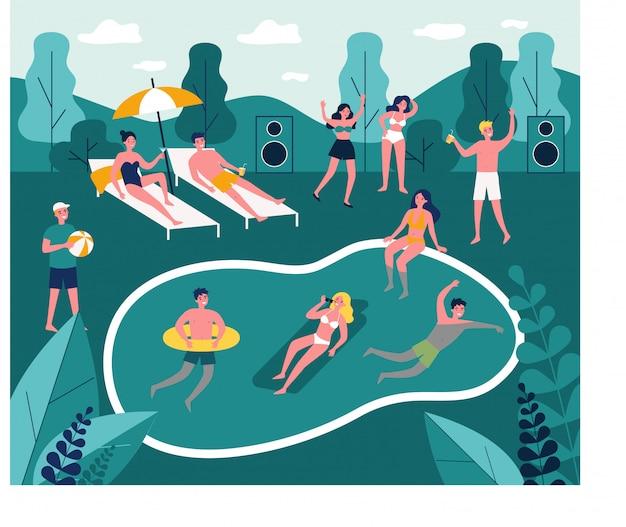 Современная иллюстрация вечеринки у бассейна