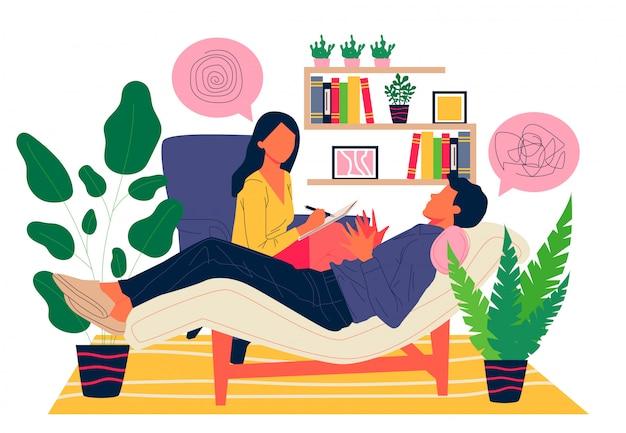 心理学者のイラストが患者のカウンセリング