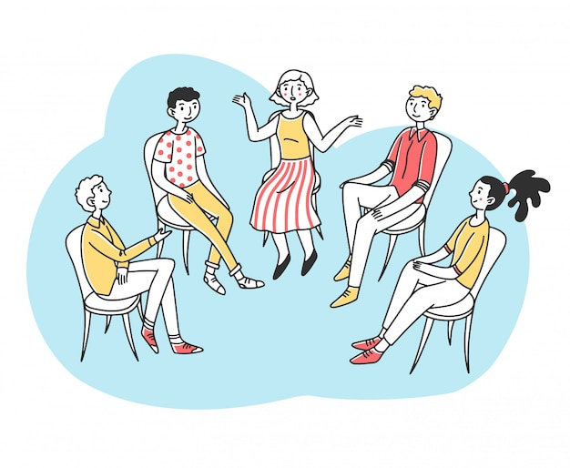 心理的または依存症の問題について話し合う患者