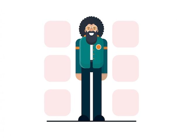 Бородатый персонаж хипстер