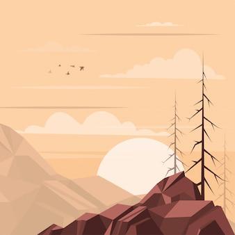 日没の風景イラスト