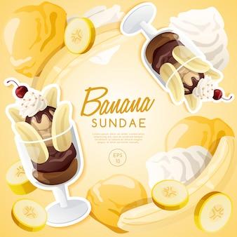 Мороженое с фруктами, шоколадно-банановое мороженое.