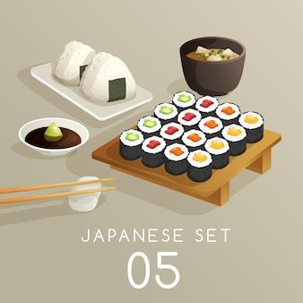 日本の食べ物イラストのセット