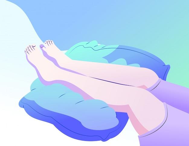 血液を循環させるために枕に置いた足