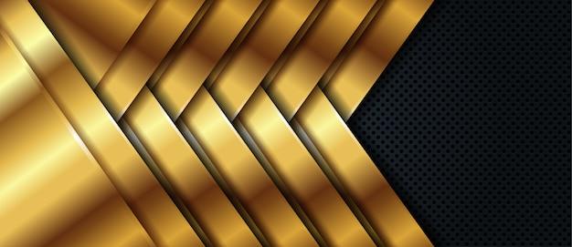 ゴールデンラインと豪華な黒いバナーの背景
