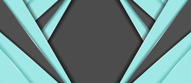 幾何学的形状のバナーの背景を持つ抽象的な青とグレーの色