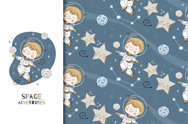 Маленький мальчик космический исследователь карты и бесшовные модели. мультфильм рисованной иллюстрации.