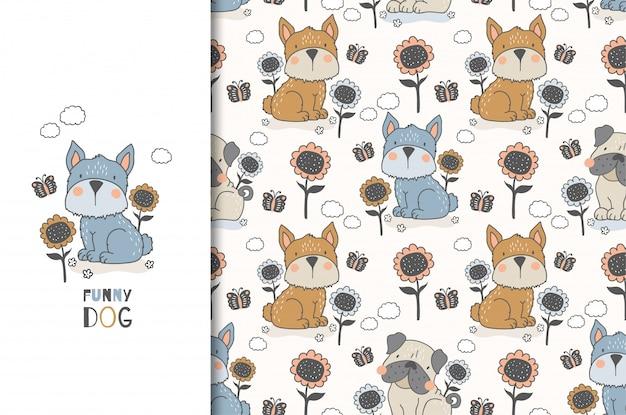 ひまわりと蝶に囲まれて座っているかわいい犬。漫画の動物キャラクターカードとシームレスな背景。手描きイラスト。