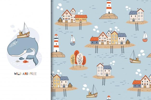 Милый мультипликационный персонаж китов с лодки на спине и бесшовный фон с домами на островах и маяк. нарисованная рукой морская иллюстрация дизайна.