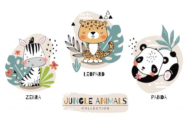 Коллекция животных джунглей. зебра с леопардом и пандой персонажей мультфильма. нарисованная рукой иллюстрация установленного дизайна значка.