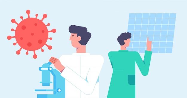 化学実験室研究。ワクチン発見の概念。科学者、抗ウイルス治療開発に取り組んでいる顕微鏡。フラットな漫画のスタイルのイラスト。