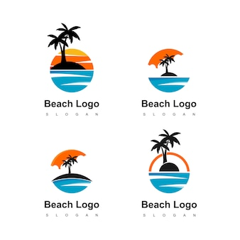 旅行代理店のためのヤシの木のアイコンとビーチロゴの円の土地