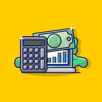 お金と電卓アイコンで企業会計のイラストグラフィック。